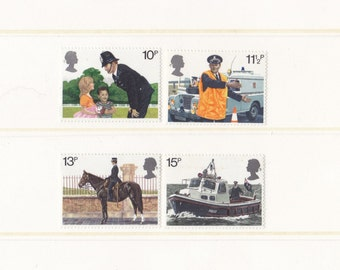 1979 Police Unused Old Postage Stamps Set; GB, UK, policeman, policewoman, safety, crime, boat, collection, mint, MNH, 70's, 1970s