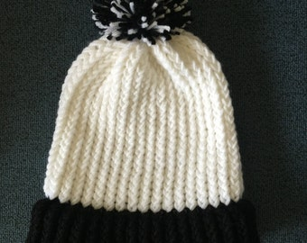 Black and White Knit Beanie
