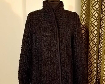 1980's Black Persian Lamb Jacket with Vintage Trim. Size 10