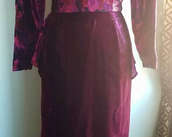 1970's Iridescent Gown with Flattering Back Peplum Detail. Size