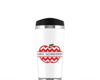 Teacher Travel Mug - Teacher Coffee Mug - Personalized Gift for Teacher - Teacher Gift - Chevron Apple - Coffee Tumbler - Travel Tumbler
