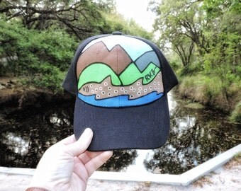 Brown Trout inspired custom hand painted hat