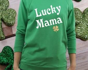 St Patricks Day shirt, women st patricks, lucky mama shirt, st patricks shirt, green shirt, st paddys shirt, women st paddys, shamrock shirt