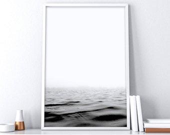 Ocean Water Wall Art| Minimalist Black and White| Coastal Printable Art| Lake House Decor| Nautical Wall Art| Seascape| Scandinavian Print