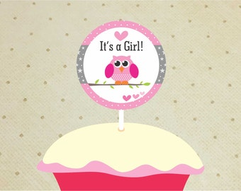 Printable Baby Shower Cupcake Toppers – Baby Shower Decorations Girl – Owl Cupcake Toppers - It's a Girl Cupcake Toppers