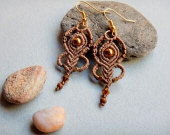 Hematite macrame earrings, fairy earrings, hematite beads, sand color, macrame jewelry, gift for her