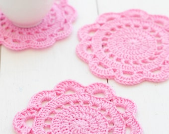 Crochet Coasters Pattern - Olivia Scallop Edge Coasters - PDF