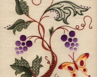 "Crewelwork Embroidery Kit, ""Butterfly Harvest"""