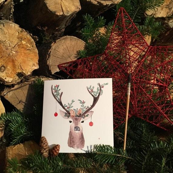 "2 greeting cards ""Noël Famille 1"" handmade watercolor * 2 Greetings cards ""family 1"" watercolor handmade Christmas"