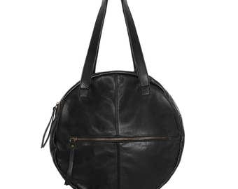 Black leather bag, round leather bag, shoulder bag, circle bag, round handbag, round purse, leather handbag, women leather bag, fashion bag