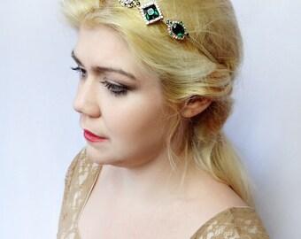 emerald headband, womens headbands, may birthstone jewelry, green jewelry, gold & green headband, headbands for women, jeweled headband