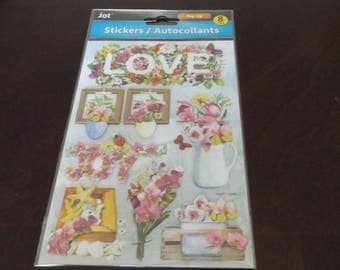 Scrap-booking Stickers Paper Craft Love Flowers Vase Plants Spring colorful Autocollants Eight (8)
