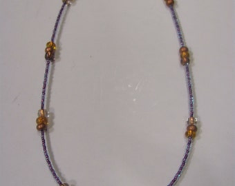 Chocolate and Grapes Bead Glass Necklace