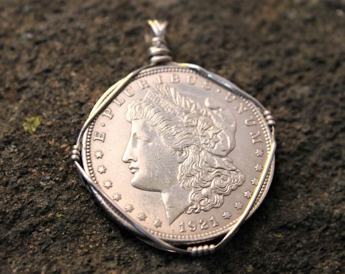 Near Mint Uncirculated 1921 Morgan Silver Dollar Pendant ; Undrilled Vintage Coin Jewelry, Mens or Ladies Necklace, Gift Idea for Him or Her
