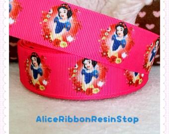 "3 yards 1"" Princess Snow White ribbon, Snow White grosgrain ribbon, Disney princess ribbon, hair bow ribbon, grosgrain ribbon, hair bow DIY"