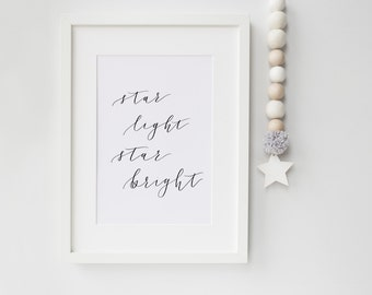 Lullaby Print - Nursery Print - Hand Lettered Print - Star Light Star Bright - Modern Calligraphy - Home Decor - Wall Art - Kids Room