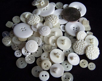 Buttons:  80 Recycled White Buttons of Varying Sizes
