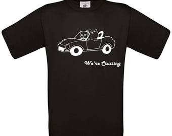 Kids Black Cotton Tshirt with Cruising Kitties Printed in Eco Friendly Crisp White Ink