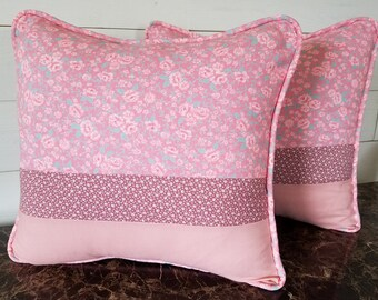 Pink Flower Quilted Decorative Throw, Accent Pillow, Bedroom Decor, Toss Pillow, Cushion Cover, 16x16