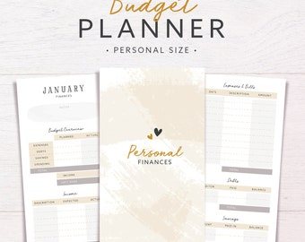 Budget Planner | PERSONAL SIZE • Budget Tracker • Savings Tracker • Finance Binder • Bill Organizer • Finance Planner Inserts • Expenses