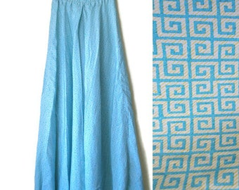 Vintage Maxi Skirt, Long skirt, Womens skirt, Summer skirt, Flowy skirt, Boho skirt, Blue skirt