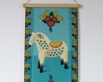 Scandinavian turquoise canvas art print wall hanging banner. Swedish inspired vintage styled Dala horse.