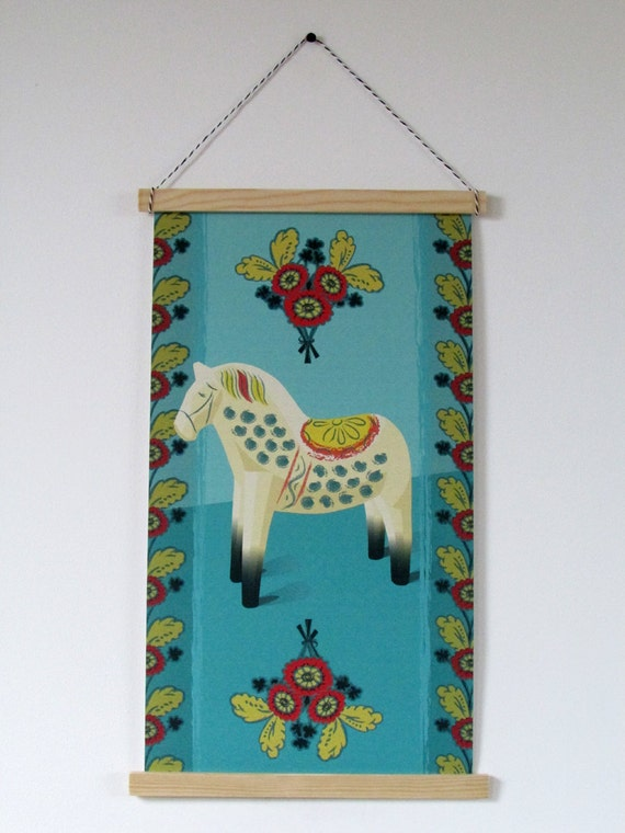 Scandinavian canvas art print. Swedish inspired vintage styled Dala horse wall hanging banner.