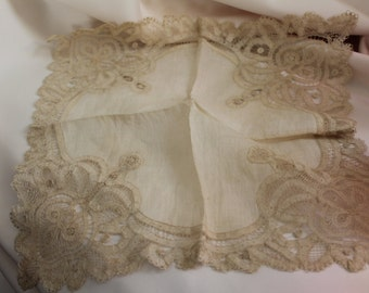 Vintage Bridal- 12 Inch Square European Lace Hanky in an Ivory Tone