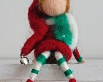 Waldorf inspired needle felted Christmas elf