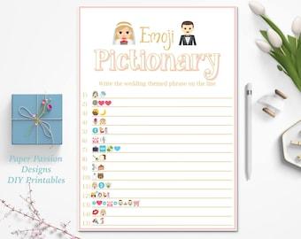 Emoji Pink Bridal Shower Game ~ Wedding Emoji Game ~ Bridal Pictionary ~ Printable Game