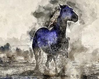A3 Instant Download, Wild Horse Print, Printable, Ocean, Horse Wall Art, Seashore, Horse Painting, watercolour,  equestrian art,  horse gift