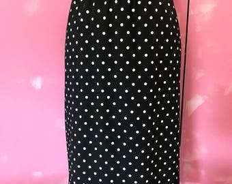 classic 80's pencil skirt, black and white polka dot skirt, pencil skirt, vintage skirt, fab 208 nyc, vintage polka dot skirt,
