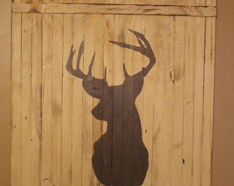 Distressed silhouette deer sign