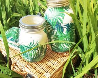 Beautiful Green Leaf Boho Style chalk painted Mason jar/ stone coasters