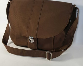 The Newport Brown Messenger Bag, Brown Canvas Shoulder Bag, Brown Cross Body Bag, Canvas Handbag, Canvas Travel Bag, Diaper Bag, Craft Bag