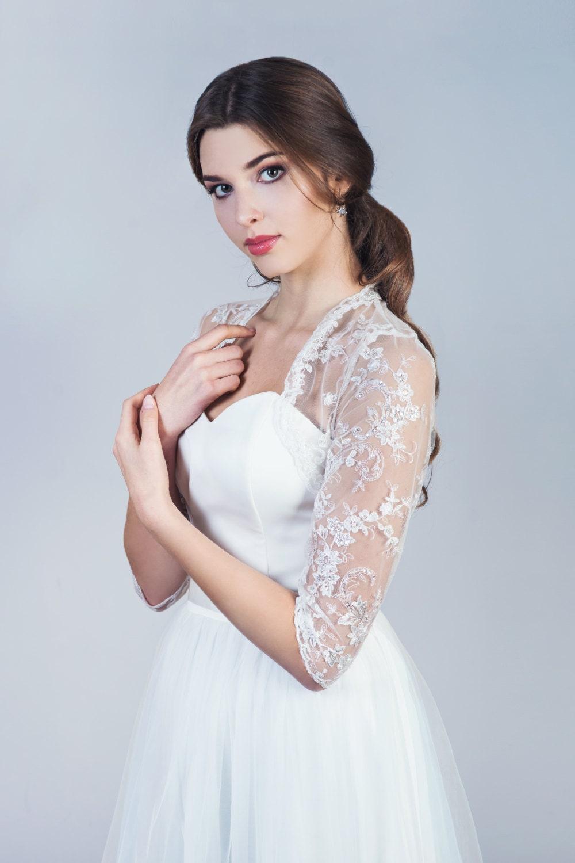 Bridal lace bolero 3/4 sleeve bolero wedding lace bolero