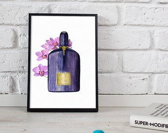 Tom Ford beauty, wall print, orchid illustration - 2 sizes available Giclee print