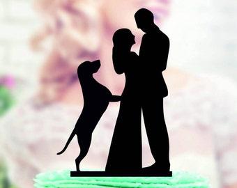 wedding cake topper with labrador, Cake Topper With Dogs, Labrador Silhouette Cake Topper, Wedding Cake Topper, Bride and Groom Cake Topper