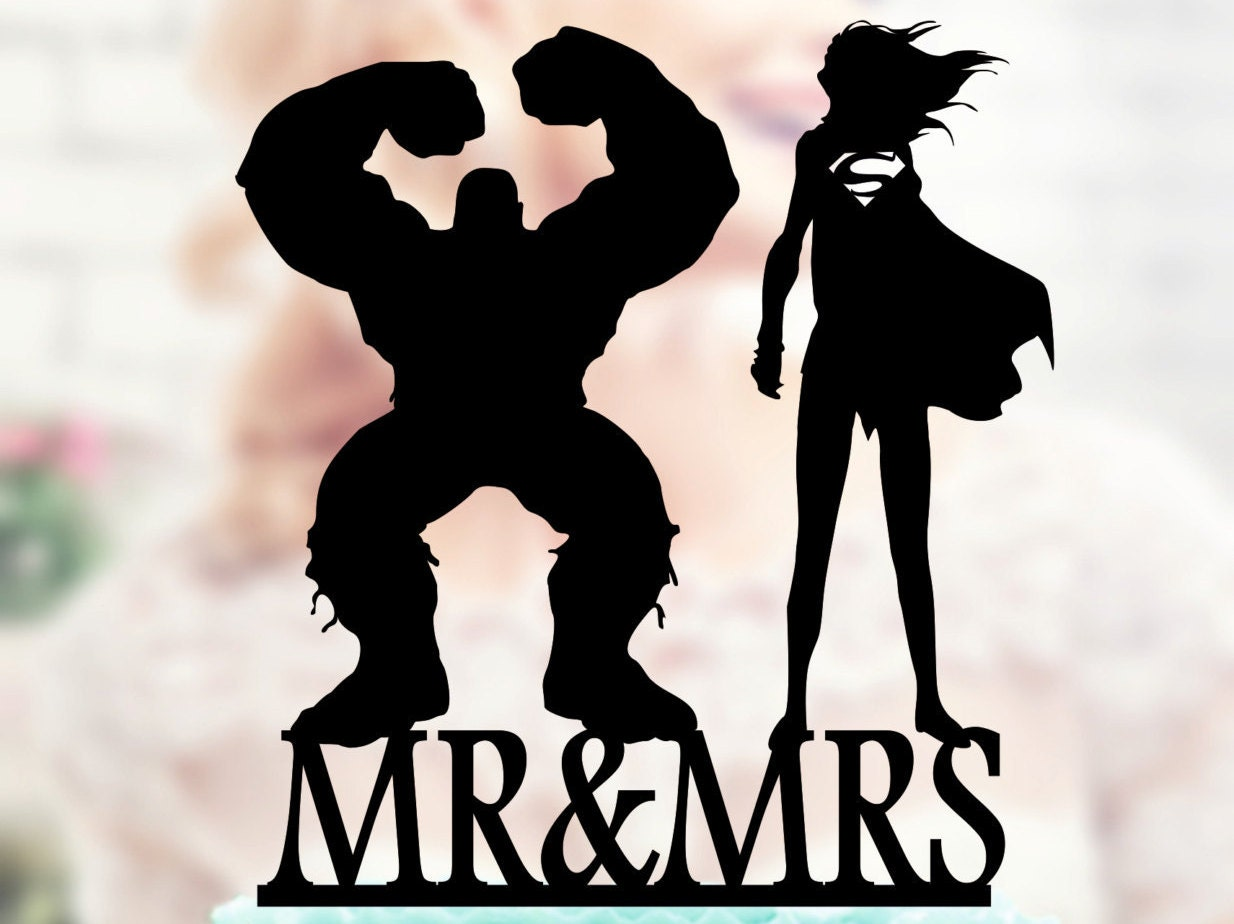 Hulk And Super Girl Silhouette Cake Toppers Superheroes