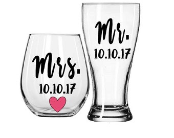 Bride and Groom, One Lucky Mr, Engagement Gift, Bride and Groom Glasses, Bride to be, engagement gift for the couple, Bridal shower gifts,
