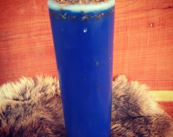 Purification & Cleansing Spell Pillar Candle - Tall Blue Candle - Artisan Made Wicca Ritual Altar Spell Candle
