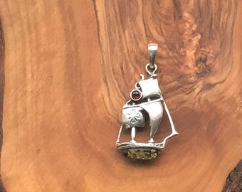 Sterling Silver Sailboat Pendant with Baltic Amber