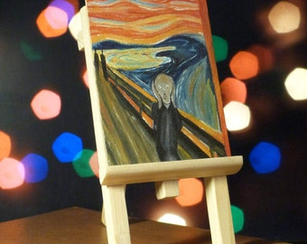 "Picture oil by Edvard Munch ""The Scream"" (Mini Replica) + wooden easel"