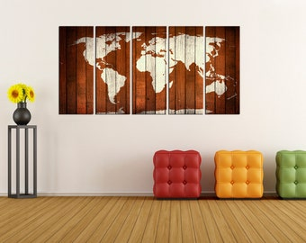 rustic world map wall art print canvas, extra large wall art, world map wall decor, wood texture world map ready to hang No:6S66