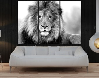 Black and white lion wall art canvas print for living office , lion wall art print extra large wall art, lion canvas art, modern art 9s56