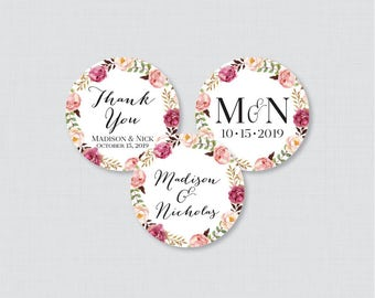 Printable OR Printed Wedding Stickers - Pink Floral Circle Wedding Labels, Personalized Wedding Favor Tags/Stickers, Rustic Pink Flower 0004