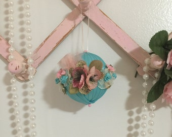 Shabby Chic Ornament, Ornaments, Shabby Chic Decor, Girly Decor, Christmas Ornaments, Hanging Ornaments, Glittered Ornaments, Home Gifts