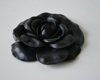 camelia leather black flower