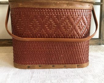 Vintage Quality Redman Picnic Basket ~ Pie Carrier with Pie Shelf ~ Kitchen Storage ~ Red Basket