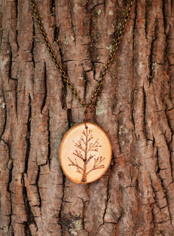 Tree Necklace, Wood Burned Necklace